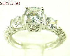Silver 925 Engagement Ring Size 6 New Art Deco Style Three-Stone Cz Sterling