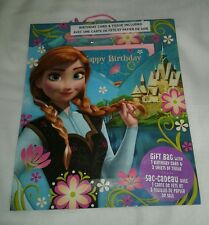 New Hallmark Disney Frozen Birthday Card Tissue Paper and Gift Bag Set