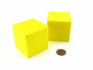 Pack of 2 Large Jumbo 50mm Blank Foam Dice Cubes - Yellow