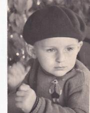 1963 Cute little boy in beret hat old fashion Soviet Russian photo