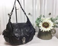 Francesco Biasia Soft Black Leather Flap Shoulder Tote Hobo Bag