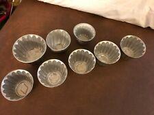 (8) vintage aluminum jello molds + (6) metal tart molds