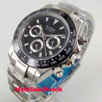 Bliger 40mm week date sapphire Multifunction automatic men's watch black dial