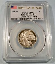 2017-S 25c PCGS SP70 QUARTER ELLIS ISLAND NP ENHANCED FIRST DAY OF ISSUE SP 70