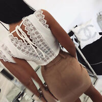 Femmes Sexy v-cou dentelle gilet Tops Summer sans manches Lace Up T-shirt WAZ