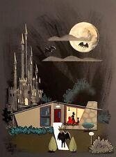 EL GATO GOMEZ RETRO MID CENTURY MODERN RANCH HOUSE VAMPIRE HORROR 1950'S  PRINT