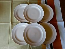 6 Vintage RARE POOLE POTTERY ENGLAND MUSHROOM & SEPIA C54 TWINTONE DINNER PLATES