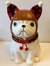 Feliz Navidog Boston terrier bulldog FRENCH BULLDOG CERAMIC STONEWARE COOKIE JAR