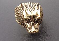 Pulido Wolf's Head Anillo en de 9 quilates de oro sólido 23 Gramos caracteriza completamente cualquier tamaño