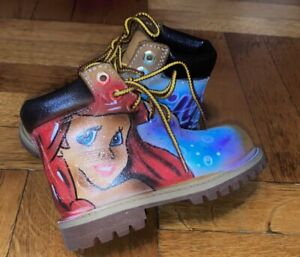 Custom Little Mermaid (EMILY) Timberland Girls 12809 Boots Wheat Size Toddler 7W