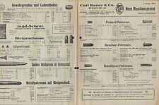 BERLIN SO, Preisliste 1924 für Munition, Patronen, Zündhütchen, Zubehör C. Bauer