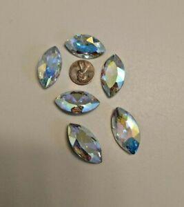 HUGE Rhinestones Crystal AB Navette Shape MASSIVE 31 x 17 MM Lot of 36 Pcs