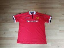 Manchester United 1998/1999 Treble Home Football Jersey XL Man UTD Sharp FreeP&P