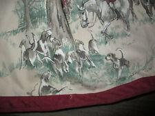Custom Fox Hunt Horse Hound Pinch Pleated Window Valance 82 x 24