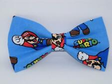 Super Mario Bow tie / Super Mario on Blue / Mario Brothers / Pre-tied Bow tie