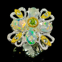 Jewellery Design Natural Opal 925 Sterling Silver Ring Size 7/R92716