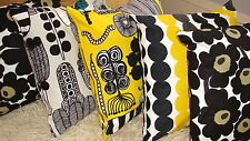 "SET of 5 Handmade 20x20"" pillow cushion case Marimekko Rasymatto Unikko black"