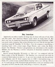 "1970 AMC REBEL ""THE MACHINE""   ~  ORIGINAL SMALLER NEW CAR INTRO ARTICLE / AD"