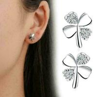 Glücksklee Blume Ohrringe für Frauen Silber Stud Hochzeit Modeschmuck Gesch