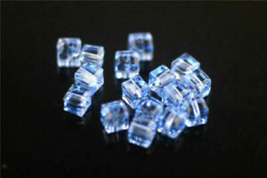 50pcs Faceted Glass Crystal Spacer Cube Beads Jewelry Finding 6x6mm Charms DIY#
