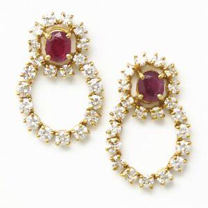 NYJEWEL 22k Yellow Gold 4.2ctw Natural Ruby & Diamond Earrings