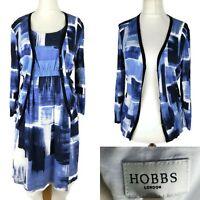 Hobbs Blue Geometric Smart Casual Shift Dress Set  Size 12