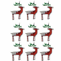 12pcs Mixed Colors Enamel Alloy Xmas Reindeer Charms Pendants Findings Crafts