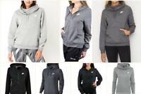Nike Women's Hoodie Top Fleece Jacket Full Zip Sport Sweatshirt Black Grey Joggi