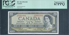 CANADA, Bank of Canada $20 1954 BC-41b PCGS 67 PPQ Superb Gem New