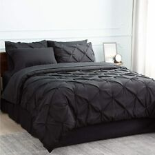 Bedsure Comforter Set Twin Bed in A Bag Black 6 Pieces - 1 Pinch Pleat Comforter