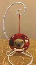 E&S Pets Hand Painted Puggle Dog Personalize Bone Christmas Wreath Ornament Pug