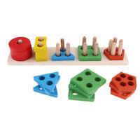 Geometric Shape Stacker Sorter Preschool Baby Kids Educational Wooden Toy