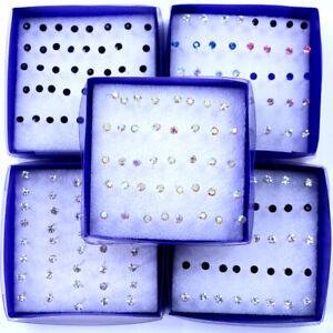 2021 20Pair/Box Silver Colorful Crystal Ear Stud Earrings Set Women Jewellery