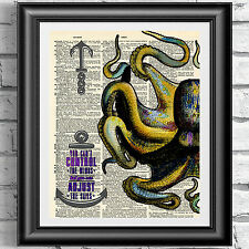 Yellow Octopus book page print wall hanging dictionary quote sail nautical decor