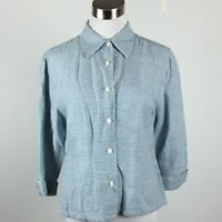 Talbots Petites S Small Blouse Shirt Button Up Blue White Houndstooth 3/4 Slv