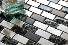 1 SQ M Black & Silver Steel & Black Crackle Glass Brick Mosaic Tile 0137