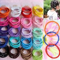 100pcs Mixed Colors Baby Girl Kids Tiny Hair Bands Elastic Ties Ponytail Holder