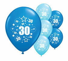 """10 x 30TH BIRTHDAY BLUE MIX 12"""" HELIUM OR AIRFILL BALLOONS (PA)"""