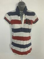 WOMENS SUPERDRY SIZE MEDIUM BLUE/WHITE/RED SHORT SLEEVE CASUAL POLO SHIRT TOP