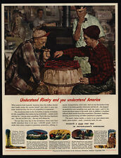 1947 Men Play Checkers at Country Store - AMERICAN PETROLEUM Art VINTAGE AD