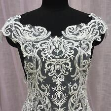 Embroidery Beaded Bridal Lace Appliques Patch Bodice DIY Wedding Dress 1 Piece