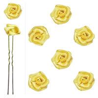 6 épingles pics cheveux chignon mariage mariée danse fleur satin jaune