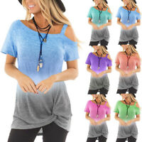Womens Holiday Casual Twisted Blouse Ombre Ladies Tee T Shirt Cold Shoulder Tops