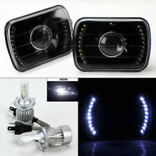 "7X6"" Black Glass DRL Projector Headlights w/ 6000K 36W LED H4 Bulbs Pair Plym"