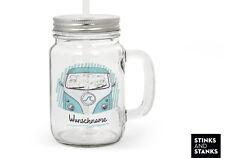Trinkglas mit Strohhalm Glas Bus Bulli Auto Name Geburtstag TG005