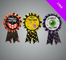3 Badges Best Halloween Costume Medal Fancy Dress Trophy Award Party Rosettes