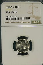 New listing 1942-S Ngc Ms65 Full Band Mercury Dime! #B8089