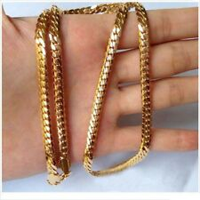 "Jewelry Men 18k Yellow Gold Filled 4MM Necklace 24"" Snake Curb Chain"