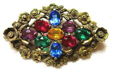 OLD MULTI COLOR RHINESTONE PIN WITH MARCASITE FLOWERS