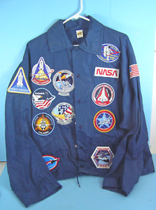 NASA Windbreaker Jacket with Space Shuttle Team SpaceLab Patches and More RARE